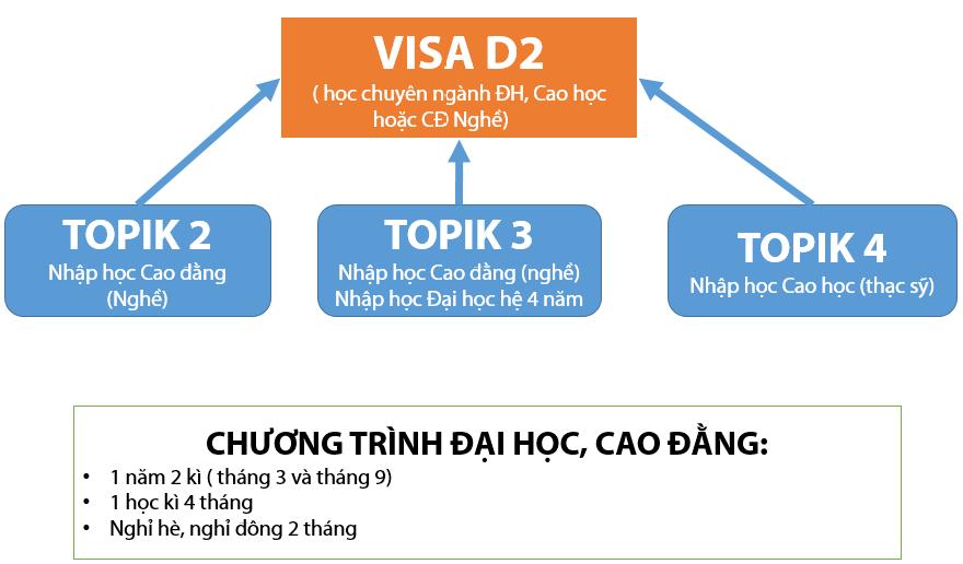 Sơ đồ đạt trình độ tiếng Hàn lên chuyên ngành đại học
