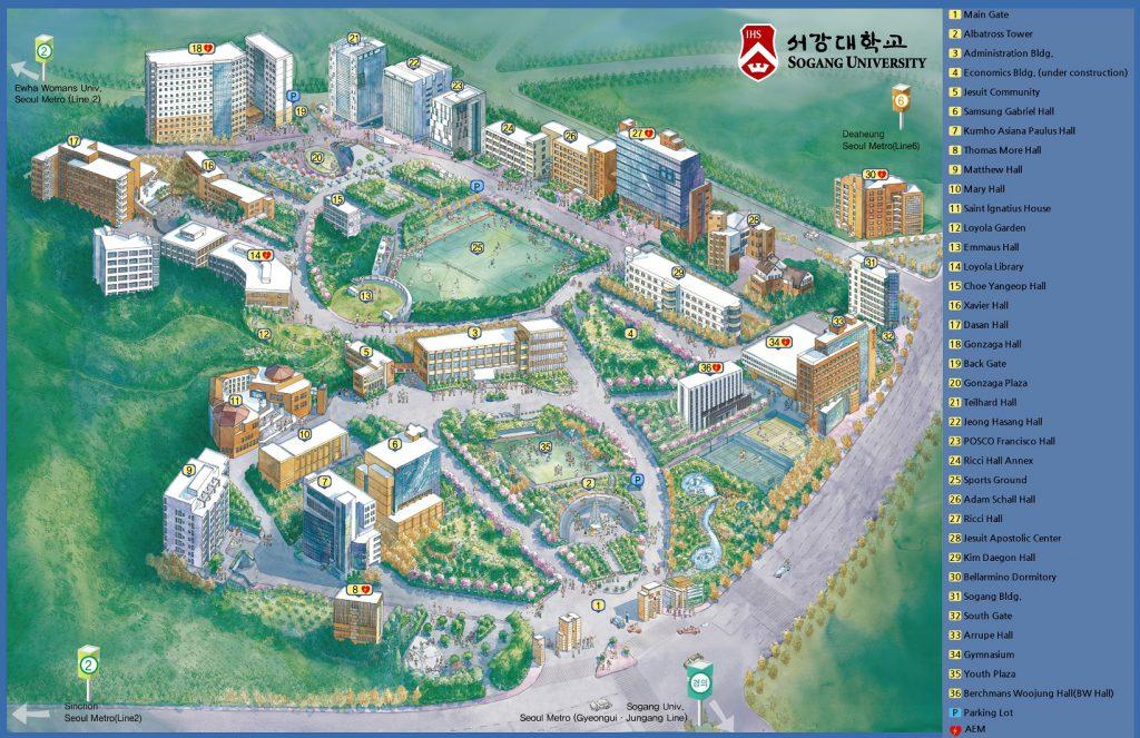 Sơ đồ tổng thể về Trường đại học Sogang