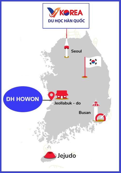 Bản đồ khu vức Trường đại học Howon