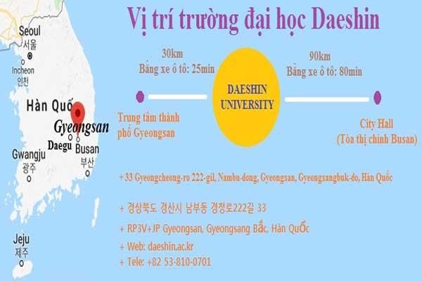 Vị trí bản đồ sơ lược về đại học Daeshin