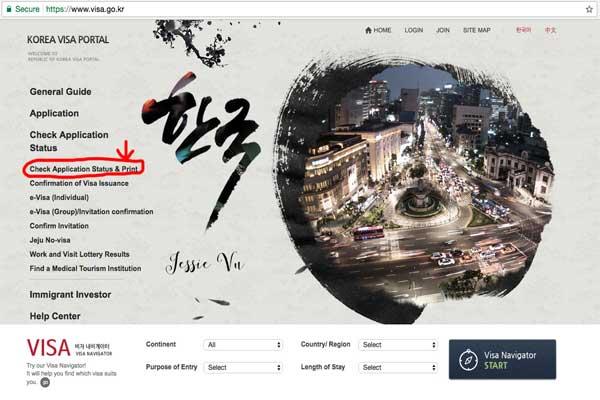 Truy cập trang web.visa.go.kr/ để tra cứu kết quả visa Hàn Quốc