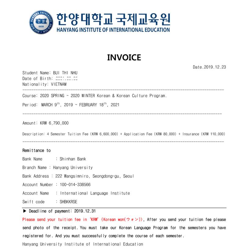 invoice trường đại học Hanyang